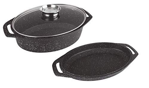 Kamberg - 0008037 - Cocotte plat à four 3 pièces 33.5 x 25 x 9.8 cm - Fonte d'aluminium - Revêtement pierre - Tous feux dont induction - Sans PFOA
