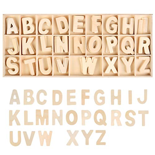 WOWOSS 131 Piece Wooden Letters with Storage Tray Set, Wooden Craft Alphabet Letters for Home Decor, Kids Learning Toy - 2 inch