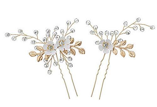 1 Paar (2 St.) Haarnadeln Hochzeit Kopfschmuck mit Kristallen Braut Haarschmuck für Frauen auf Hochzeit Party oder Freizeit (Gold Royal)