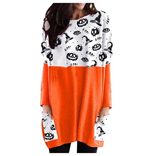 SEWORLD 2020 Halloween Damen Laterne Ghost Pumpkin Langarm Kleid Druck Sweater Bekleidung Damen Große Größen mit Wasserfall Saum Hässlicher Pulli