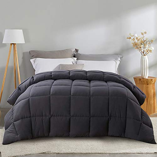 EDILLY Luxury Reversible Down Alternative Soft Quilted Queen Comforter - Stand Alone Comforter for Queen Size Bed, All Season Duvet Insert with 4 Corner Tabs,88''x 88'', Dark Grey