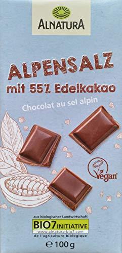 Alnatura Alpensalz mit 55% Edelkakao (Vegane Schokolade laktosefrei mit Salz) 100g