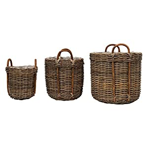 Set of hand-woven baskets are made from rattan Basket is woven to create a pattern and also has handles on the top for easy movement Three sizes in this set can be used in a variety of ways Can be used as storage in any area of home, for blankets, la...