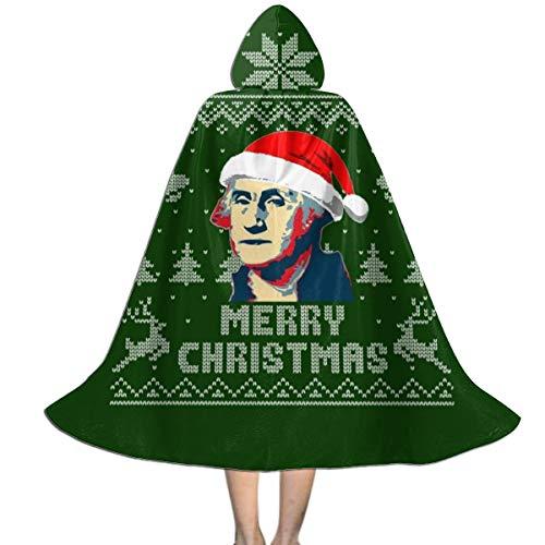 KUKHKU Merry Christmas George Washington, Strickmuster, Unisex, für Kinder, mit Kapuze, Umhang für Halloween, Weihnachten, Party, Dekoration, Rolle, Cosplay, Kostüme