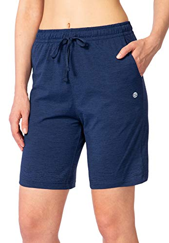 G Gradual Women's Bermuda Shorts Jersey Shorts with Deep Pockets 7' Long Shorts for Women Lounge Walking Athletic (Navy Blue, X-Large)