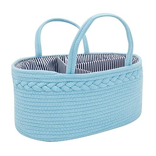 josietomy Cesta de pañales para bebé, 3 compartimentos, con divisor extraíble para pañales y juguetes (38 x 28 x 18 cm)