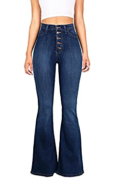 Vibrant Women s Juniors High Rise Button Fly Flare Jeans  5 Dark Denim