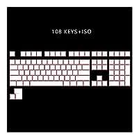 PCアクセサリ ANSI ISOプロフィールプリンキーセットのための機械的なキーボードを通じ108 PBTダブルショット磨き キーボードカバー (Color : White Pink 108iso)