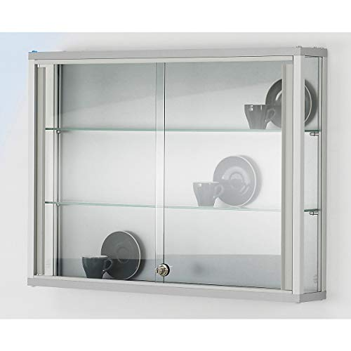 Wandvitrine, BxTxH 800x120x590 mm, Aluprofile, 2 G lasböden, Schiebetüren, Zylinderschloss