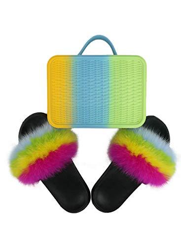 Frauen Flauschige pelzige Hausschuhe Flip Flops Sandalen Farbe gewebte Handtasche kosmetische Make-up Umhängetasche Set