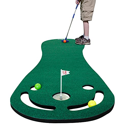 KOFULL Putting Green Mats Set for Golf Putting Use, Included 29 inches Golf Putter, 3 Golf Balls, Training Aid Put Cup & Flags, Practicing Putt Green Carpet for Children Putting Indoor Outdoor