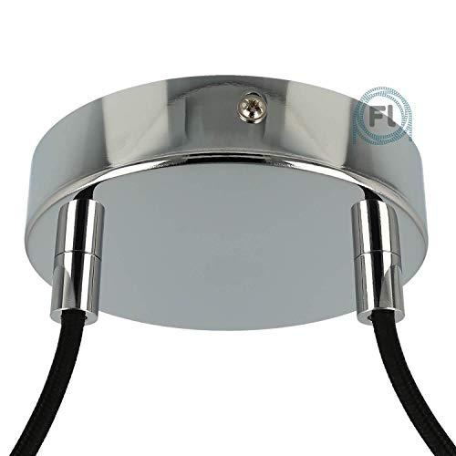 Flairlux All-in-One Baldachin für Lampe 2 Loch Metall chrom rund 120x25mm inkl Wago Klemmen, Klemmnippel zylindrisch
