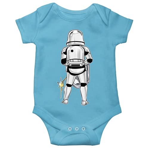 OKIWOKI Star Wars Lustiges Blau Kurzärmeliger Baby-Bodysuit (Jungen) - Imperial Stormtrooper (Star Wars Parodie signiert Hochwertiges Baby-Bodysuit in Größe 56 - Ref : 1134)