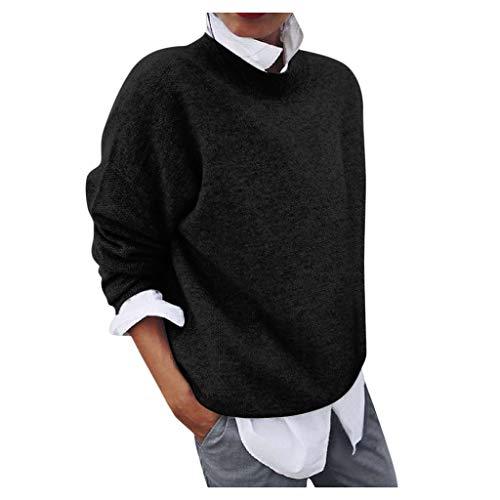 Fenverk 2 in 1 Optik Langarmshirt Damen Langarm Longshirt Casual Rundhals Tunika Top Shirt Lang Pulli Winterpulli Sweater Sweatshirt Winterpullover Elegante Loose Freizeit Pullover(Schwarz,M)