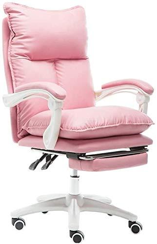 poltrone GSN Escritorio de Cuero Silla de Juego, con Fuerza de sustentación del reposapiés ergonómico Respaldo Alto Silla de la computadora de Oficina: 330lbs (Color : Pink)