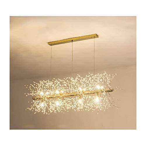 CROSSIO Firework Chandelier, Modern Crystal Stainless Steel Dandelion LED Ceiling Light, Gold 12...