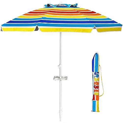 GIANTEX Ombrellone da Giardino Inclinabile da 220 cm con Ancoraggio, Portabicchieri e Borsa per il Trasporto, Parasole Rotondo UV50+