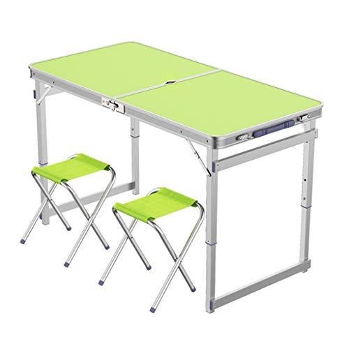 Table de camping pliable avec 2 tabourets pliants Chaise de camping Portable à hauteur réglable en aluminium, 4 pieds, table de camp de pique-nique intérieur et extérieur avec trou ( Couleur : Green )