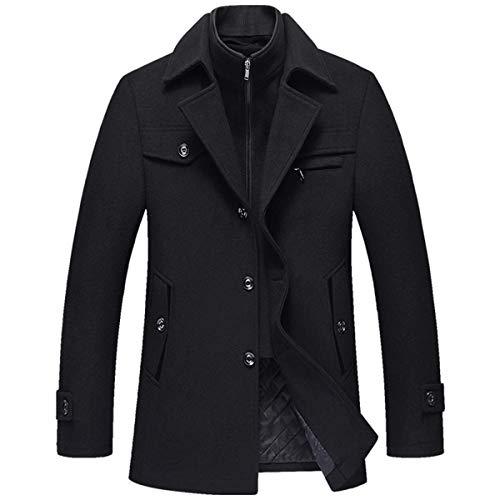 Allthemen Cappotto da Uomo in Lana Giacca Slim Fit da Lavoro Corto Business Trench Coat Soft Touch Calda Invernale Nero S