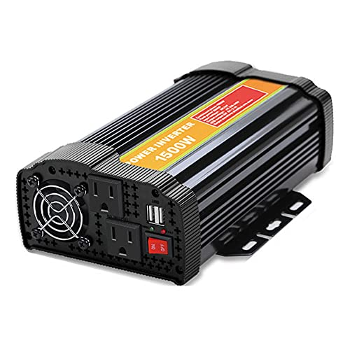 Power Inverter Car Converter Modified Sine Wave Inverter 1500W DC 12V to AC 110V / 220V AC Outlets and Dual 2.1A USB Car Adapter for RV Caravan Truck Laptop