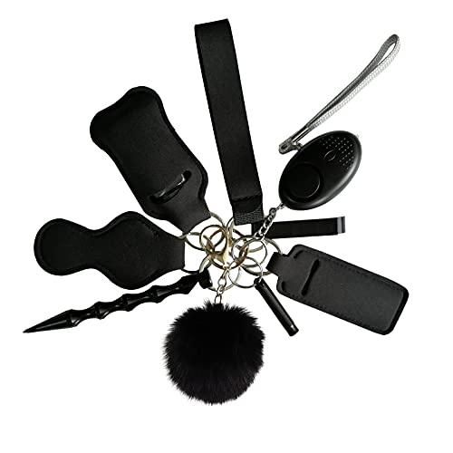 Pulsera de pulsera con llavero, juego de llavero de seguridad para mujer con alarma personal, herramienta para romper ventanas, pompones y bálsamo labial, silbato, abrebotellas