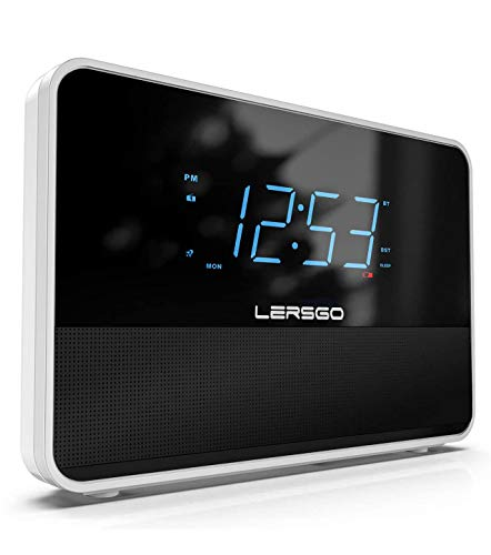 Clock Radio Bluetooth V5.0 Portable Speaker with HD Sound and Bass,1.4 Inch Blue Display with Dimmer,Dual Alarm,Snooze,Adjustable Alarm Volume, Sleep Timer,USB Charging Port (Lvory White)