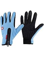 OhhGo Outdoor Sport Fietshandschoenen Volledige Vinger Zware Fleece Touchscreen Winddicht (Blauw S)