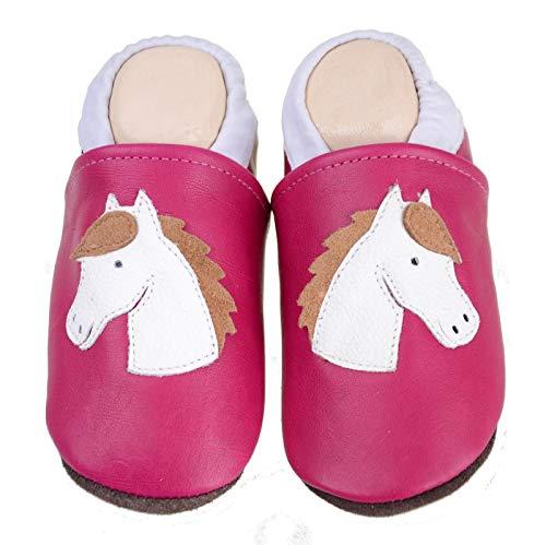 Liya's Krabbelschuhe Lederpuschen – #539 Pferd in pink - Gr. 29/30