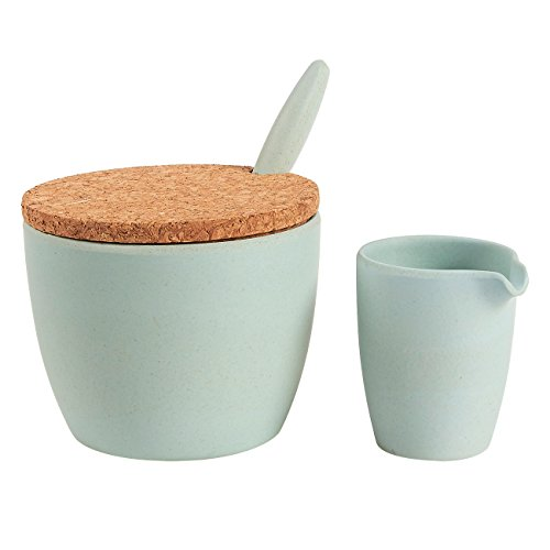 2-Piece Sugar Bowl and Mini Creamer Set – Bamboo Condiment Container and Coffee Creamer Pourer Pitcher - Perfect for Serving Sugar and Small Portion Cream for Tea and Coffee, Light Teal