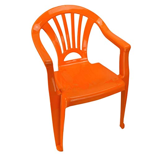 Marabella Kinderstuhl Gartenstuhl Stuhl für Kinder in blau, grün, orange oder pink Garten, Farbe:orange
