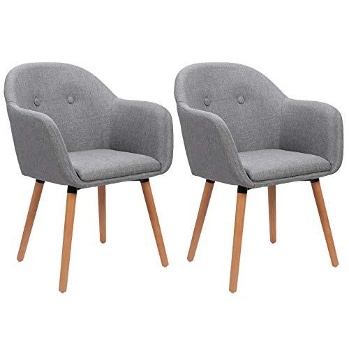 WOLTU Esszimmerstühle BH94hgr-2 2er Set Küchenstuhl Wohnzimmerstuhl Polsterstuhl Design Stuhl mit Armlehne, Sitzfläche aus Leinen, Gestell aus Massivholz, Hellgrau