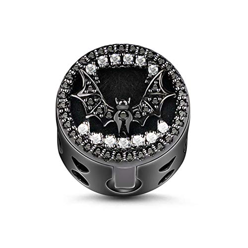 GNOCE Black Bat Bead Charm Sterling Silver Essential Oil Diffuser Dancing with Danger Dangle Charm fit for Bracelet/Necklace Jewellery Gift for Wife Girlfriend Christmas New Year