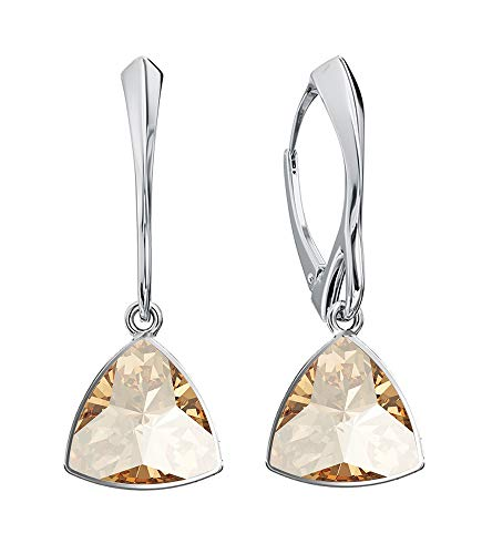 *Beforya Paris* Kaleidoscope Triangle - Colours Variations - Great Exclusive Earrings - 925 Silver Beautiful Ladies Earrings with Crystals Compatible for Swarovski- Wonderful Earrings Golden