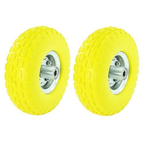 First4spares 25,4 cm massivt gummi skottkärra hjul och axel hjullager för vagn/hjullager (paket med 2)