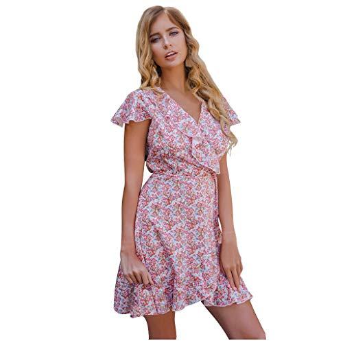 Find Bargain ANJUNIE Womens Swing Mini Dress V-Neck Short Sleeved Printing Dress Beachwear Sundress(...