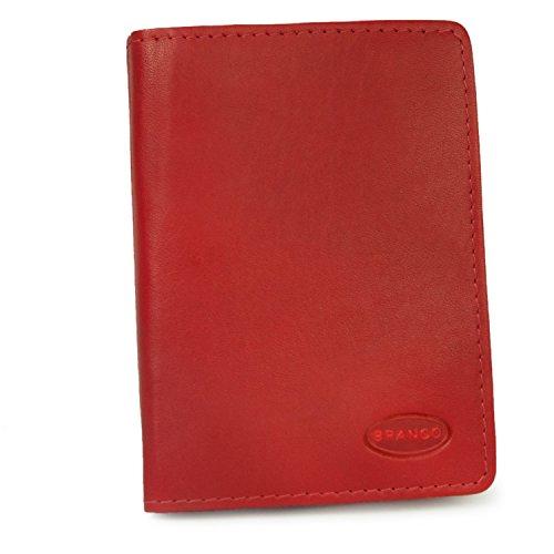 A7 Hülle Etui Mappe z.B. für Ausweis, Fahrzeugschein, Führerschein und Kredit-Karten, Echt-Leder, Rot, Branco 302
