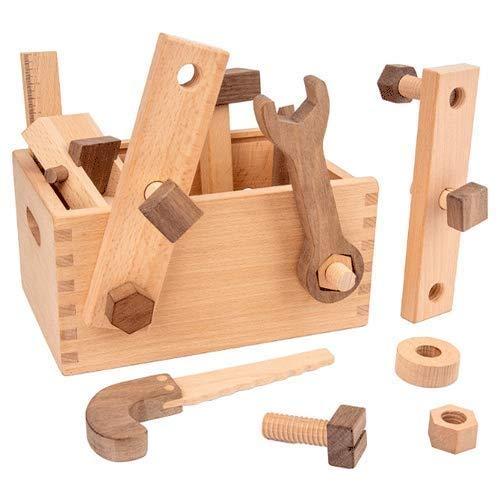 Raelf Caja de herramientas de reparación de juguete, beech Multifuncional Caja de herramientas Carpintero de madera DIY Portátil Multi Function Toolbox Set Niños Combinación Educativa Pretend Tool Set