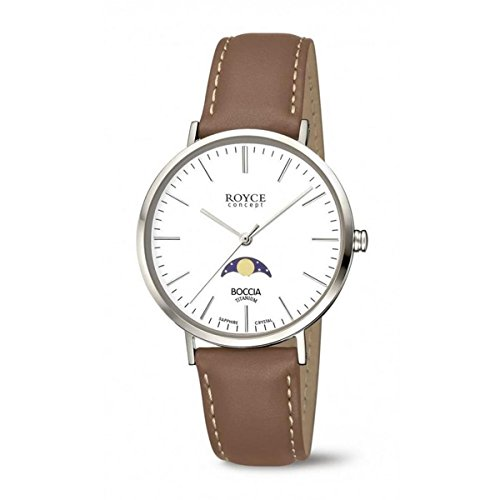 Boccia Herren Analog Quarz Uhr mit Leder Armband 3611-01