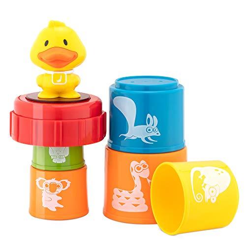 Navaris Bloques apilables para bebé - Cubos con luz y música para bebés de +12 meses - Juguete de apilar con 5x cubo de animales y 1x pato musical