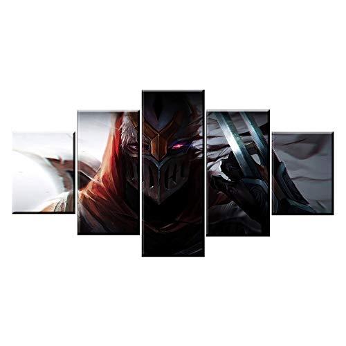 MYJXKLImpresión de la lona deOne Set 5 Piece Game Warrior Poster Wall Art Home DecorativePicture Framework en lienzo Tipo de impresión Pintura