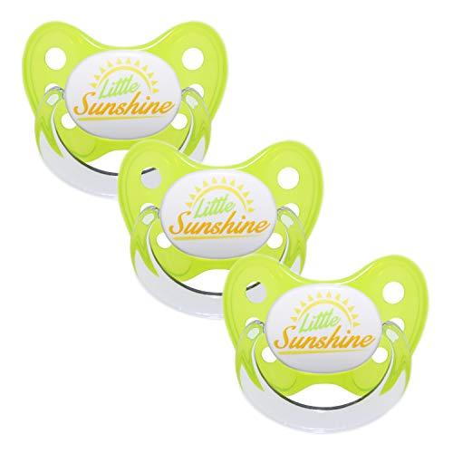 Dentistar® Schnuller 3er Set- Nuckel Silikon in Größe 3, ab 14 Monate - zahnfreundlich & kiefergerecht - Beruhigungssauger für Babys und Kleinkinder - BPA frei - Made in Germany - Gelb Little Sunshine