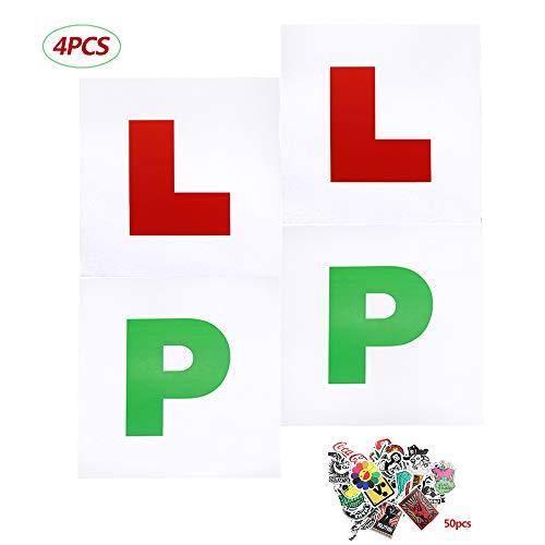 Homo Trends 4 x dicke Magnetschilder für Fahranfänger, 2 x grüne P-Schilder, 2 x rote L-Schilder für magnetische Fahranfänger, Fahrsicherheit, 50 x Auto-Aufkleber mit mehreren Arten