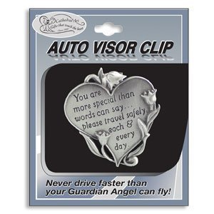 HEART Shaped VISOR Clip for CAR/Automobile - 'You Are More Special Than Words Can Say...' 'NEVER...
