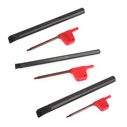 Wendeschneidstange, Bohrstange mit Hartmetalleinsatz Rechts SCLCR-Bohrstange mit 10 Stück Hartmetalleinsätzen CCMT0602 und 3 Stück Schraubenschlüssel, geeignet zum Drehen des Innenlochs, Reiben, Kopie