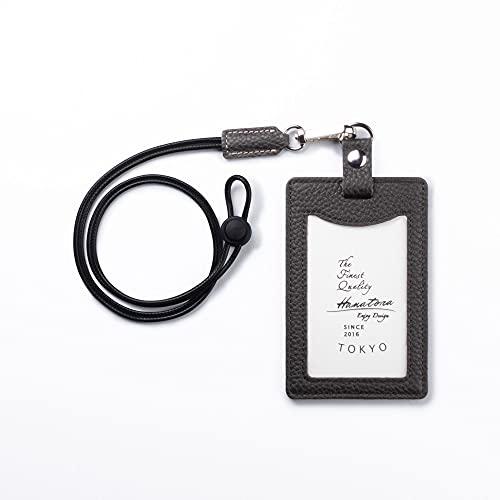[HANATORA] 本革 縦型 IDカードホルダー IDカードケース パスケース 定期入れ カード入れ シュリンクカーフレザー ハンドメイド ギフトにも最適品 薄型 メンズ レディース ユニセックス Edel HCC05-OliveGray