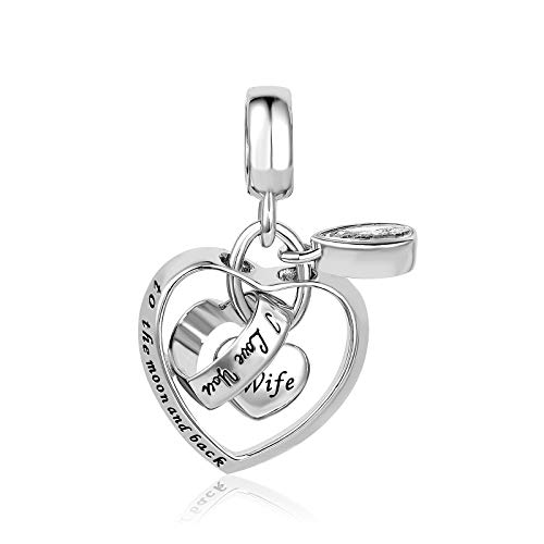 KunBead Jewelry Love Wife Girlfriend Engagement Wedding Heart Charms for Women Valentines fit Bracelets