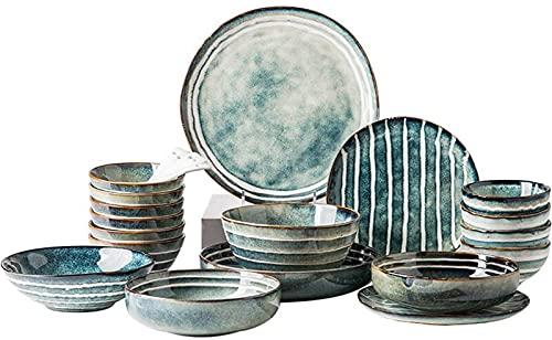 Juego de Platos, Conjuntos de Cena de cerámica, Cuenco/Plato/Cuchara | Conjunto de vajillas de patrón de Rayas Dibujado a Mano, Conjunto de combinación de Porcelana de glaseado de Horno Retro, 24