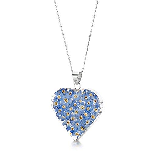 Halskette und Herz- Anhänger mit Vergissmeinnicht Sterling-Silber 925 46cm