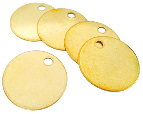 CH Hanson Metal Stamping Blanks - 1-1/2' Blank Tags with Holes, Name & Pet Tags, Label Equipment - Model 1098B, Durable 18-Gauge Brass (100 Count)