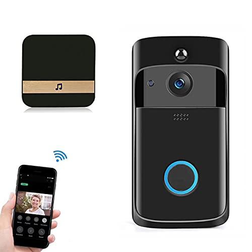 Timbre Inalámbrico de 720P WiFi, Timbre de Video Cámara de Seguridad Impermeable Inteligente de Videoportero para Monitoreo en el Hogar